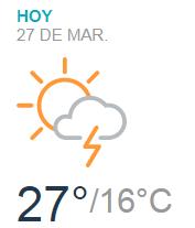 Clima Nacional marzo 27, martes